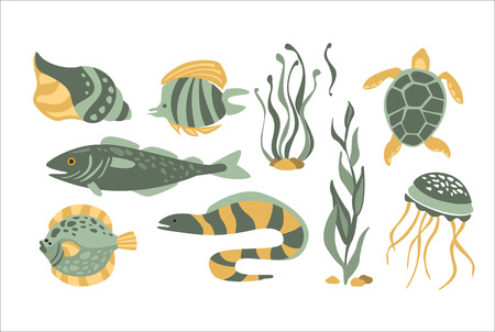 moray: Stylized Underwater Nature Collection Of Icons In Flat Atristic Vector Design On White Background Illustration