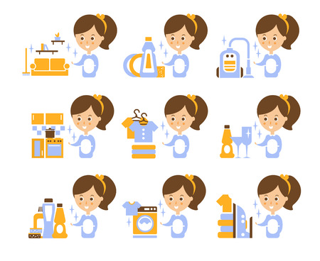 household tasks: Cleaning Service Girl And Finished Tasks Set Of Illustrations In Stylized Simplified Flat Vector Cartoon Stickers