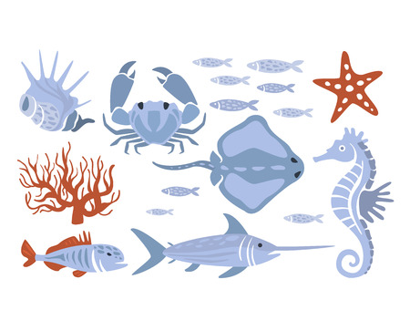 sward: Stylized Underwater Nature Set Of Icons In Flat Atristic Vector Design On White Background Illustration