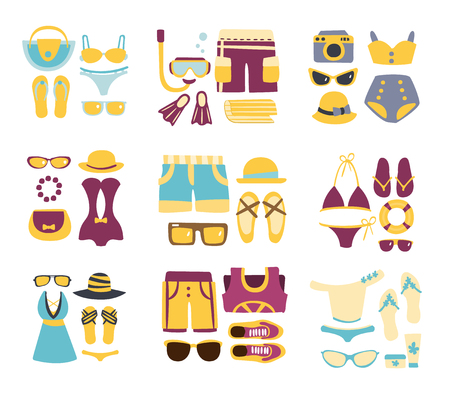combinations: Beach Outfit Combinations Of Clothing And Accessories In Simple Flat Vector Style Flat Illustrations On White Background