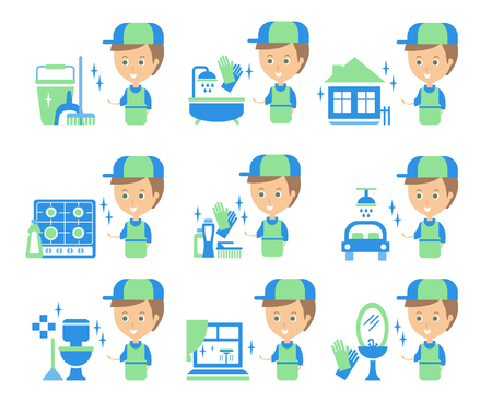 tasks: Cleaning Service Man And Finished Tasks Set Of Illustrations In Stylized Simplified Flat Vector Cartoon Stickers