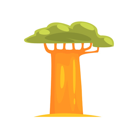 baobab: Baobab Realistic Simplified Bright Color Vector Drawing Isolated On White Background