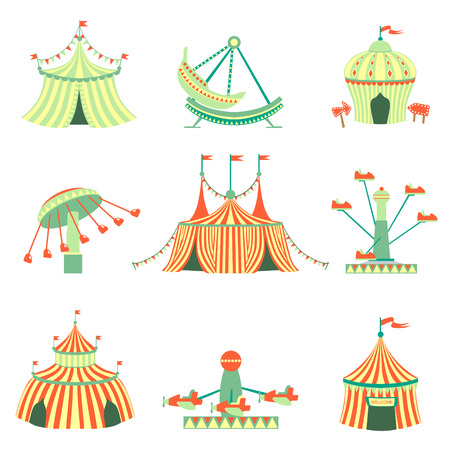 amusement park ride: Amusement Park Elements Collection Of Cartoon Syle Flat Vector Illustrations Isolated On White Background Illustration
