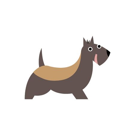 primitive: Scottish Terrier Dog Breed Primitive Cartoon Illustration In Simplified Vector Design Isolated On White Background Illustration
