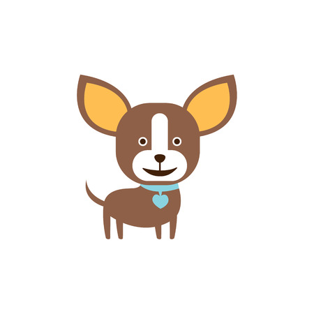 dog ears: Chihuahua Dog Breed Primitive Cartoon Illustration In Simplified Vector Design Isolated On White Background