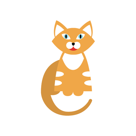 primitive: Red Tiger Cat Breed Primitive Cartoon Illustration In Simplified Vector Design Isolated On White Background
