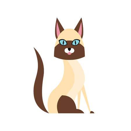 Siamese Cat Breed Primitive Cartoon Illustration In Simplified Vector Design Isolated On White Background Illustration