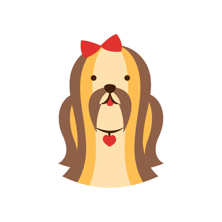 longhaired: Shih-Tzu Dog Breed Primitive Cartoon Illustration In Simplified Vector Design Isolated On White Background