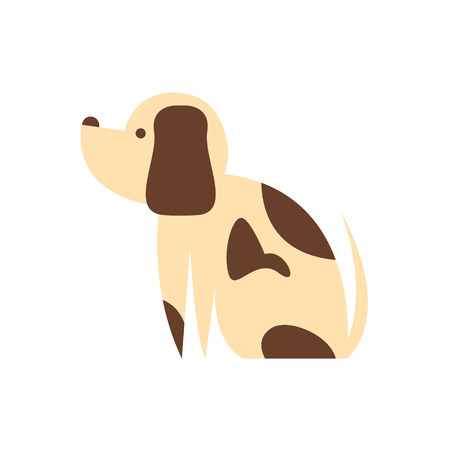 mutt: Mutt Dog Primitive Cartoon Illustration In Simplified Vector Design Isolated On White Background