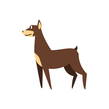 brown dobermann: Pincher Dog Breed Primitive Cartoon Illustration In Simplified Vector Design Isolated On White Background