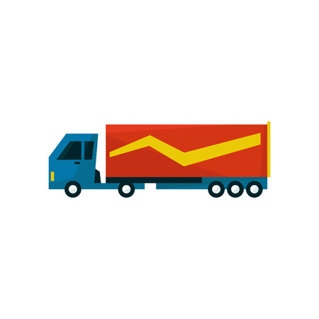 long distance: Big Long Distance Cargo Truck Simplified Flat Vector Design Colorful Illustration On White Background