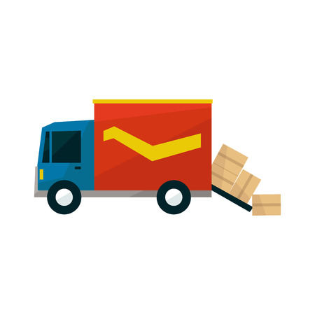 long distance: Long Distance Cargo Truck With Boxes Falling Out Simplified Flat Vector Design Colorful Illustration On White Background