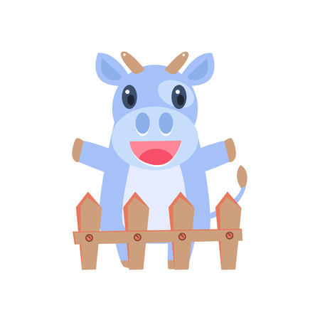 shed: Happy Cow Behind Wooden Shed Flat Childish Simple Style Vector Drawing Isolated On White Background