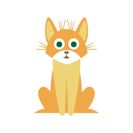 mutt: Mutt Cat Primitive Cartoon Illustration In Simplified Vector Design Isolated On White Background
