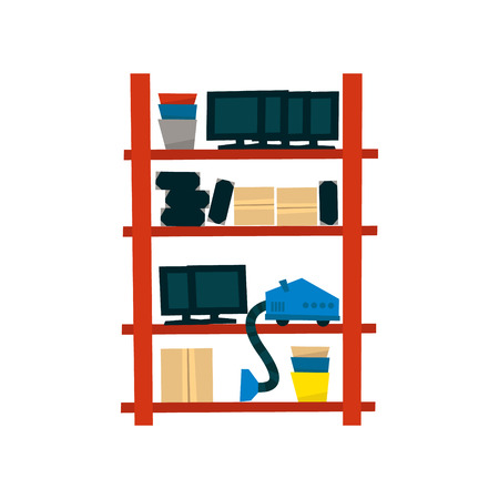storehouse: Storehouse Shelf With Objects Simplified Flat Vector Design Colorful Illustration On White Background Illustration