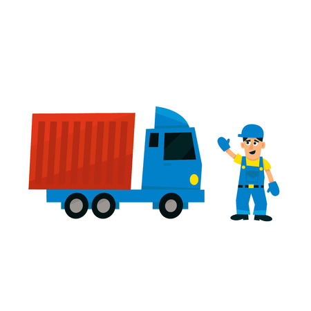 delievery: Worker And Delievery Truck Simplified Flat Vector Design Colorful Illustration On White Background