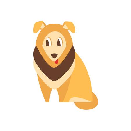 簡易ベクトルのコリー犬の品種原始的な漫画イラスト デザインの分離ホワイト バック グラウンド