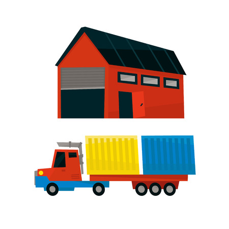 long distance: Storehouse And Long Distance Cargo Truck Simplified Flat Vector Design Colorful Illustration On White Background