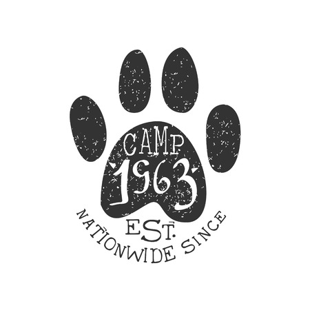 nationwide: Nationwide Camp Vintage Emblem Black And White Monochrome Vector Design Label On White Background