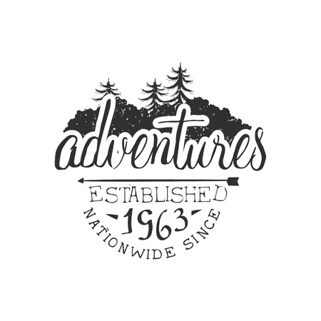 pine forest: Nationwide Adventures Vintage Black And White Monochrome Vector Design Label On White Background Illustration