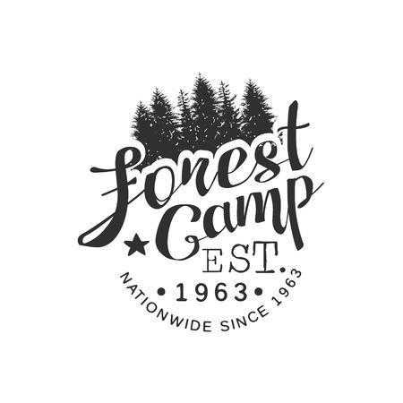 established: Nationwide Forest Camp Vintage Black And White Monochrome Vector Design Label On White Background