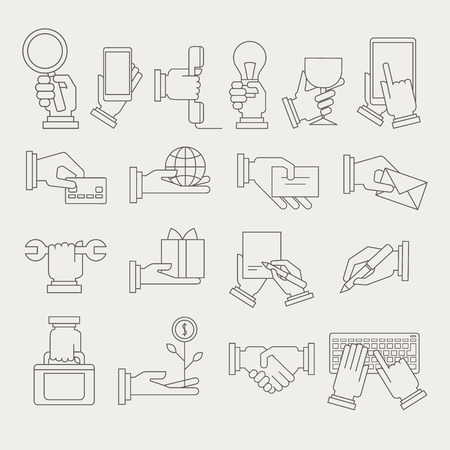 taking notes: Hands With Different Objects Set Of Simple Contour Vector Icons On Grey Background Illustration