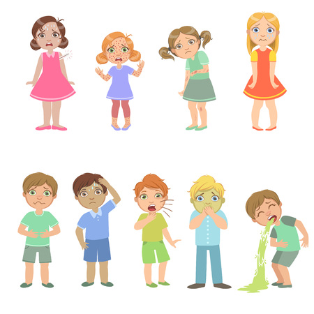 malady: Kids With Maladies Set Of Cute Big-eyed Characters Flat Vector Isolated Illustrations On White Background