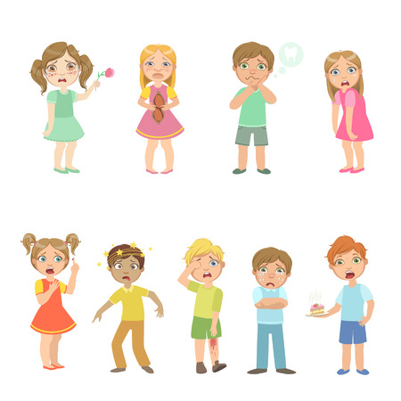 concussion: Kids With Maladies Collection Of Cute Big-eyed Characters Flat Vector Isolated Illustrations On White Background