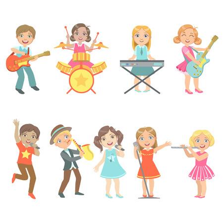 Niño cantando y tocando instrumentos de música Conjunto de personajes lindos de ojos grandes Vector plano ilustraciones aisladas sobre fondo blanco