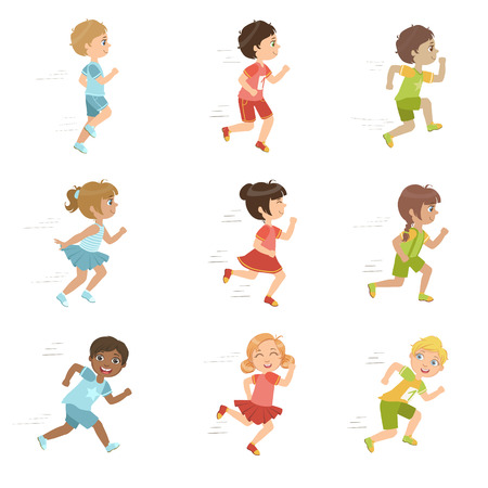 teammate: Kids Running Set Of Cute Big-eyed Characters Flat Vector Isolated Illustrations On White Background