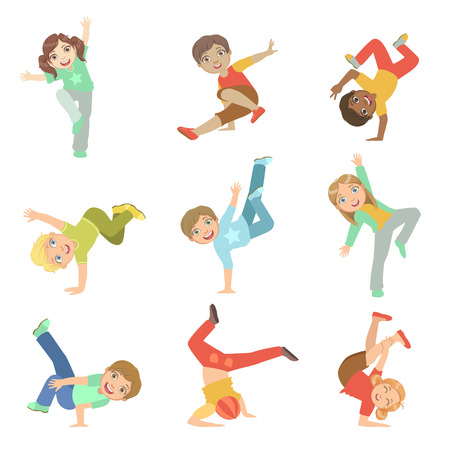 Kinder Performing Modern Dance Set nette große Augen Charaktere Wohnung Vector Isoliert Illustrationen auf weißem Hintergrund Vektorgrafik