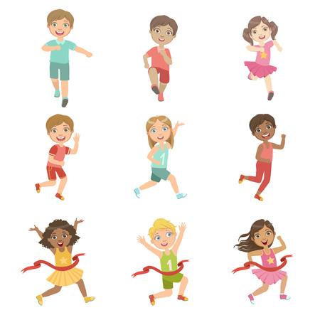 Crianças em execução concorrência conjunto de ilustrações de olhos grandes bonito plana Vector ilustrações isoladas no fundo branco Ilustración de vector