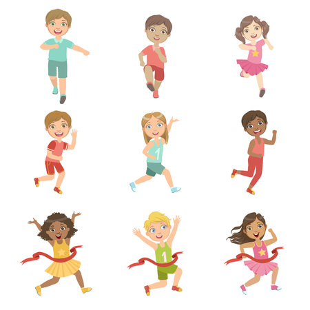 Kids In Running Competition Set Of Cute Big-eyed Characters Flat Vector Isolated Illustrations On White Background Иллюстрация