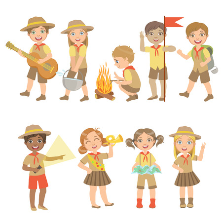 Kids Scouts Hiking Set Of Cute Big-eyed Characters Flat Vector Isolated Illustrations On White Background Vectores