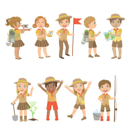 Kids Scouts Camping Set Of Cute Big-eyed Characters Flat Vector Isolated Illustrations On White Background