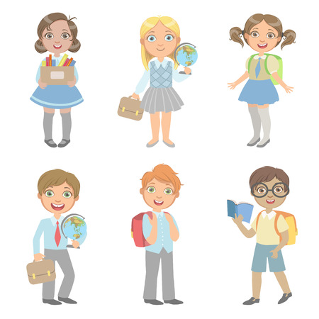 set going: Students With School Bags Set Of Simple Design Illustrations In Cute Fun Cartoon Style Isolated On White Background