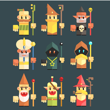vodoo: Flash Game Magician Set Of Flat Primitive Stylized Graphic Design Vector Icons Isolated On Dark Background