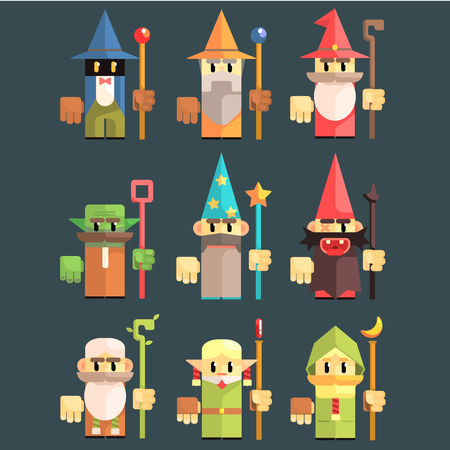 astrologer: Flash Game Wizard Set Of Flat Primitive Stylized Graphic Design Vector Icons Isolated On Dark Background