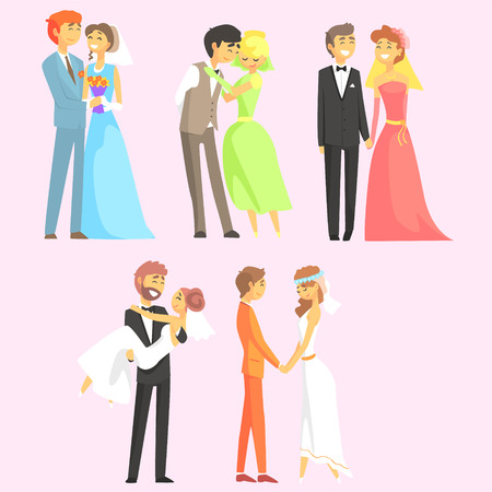 married couples: Couples Getting Married Flat Cool Cartoon Style Vector Drawings Set