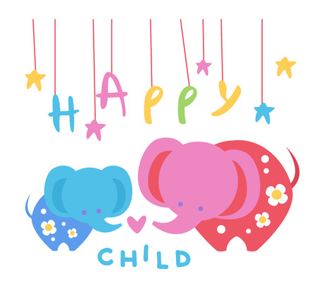 Happy Child Backdrop Illustration With Elephants Mother And Baby In Cute Childish Flat Vector Design On White Background