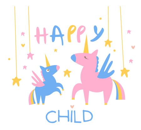 Bonne Backdrop Enfant Illustration Avec Unicorns Mother And Baby In Mignon Childish Flat Vector Design Sur fond blanc Vecteurs