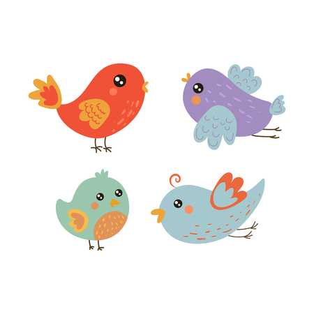 Four Cute Bird Chicks Collection Of Isolated Childish Style Simple Shape Design Vector Icons On White Background