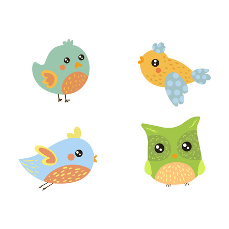 pigeon owl: Four Cute Small Birds Collection Of Isolated Childish Style Simple Shape Design Vector Icons On White Background