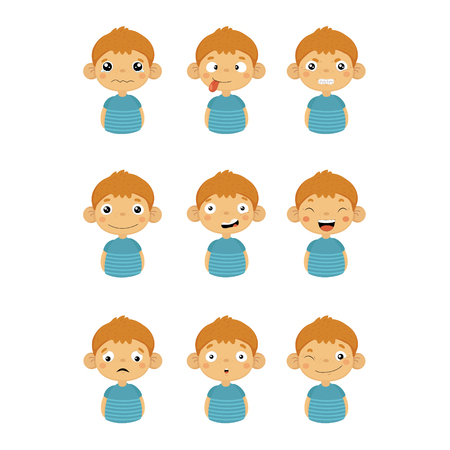 joking: Young Boy Portrait Icons With Different Emotions Set Of Flat Cartoon Style Simple Drawings Isolated On White Background