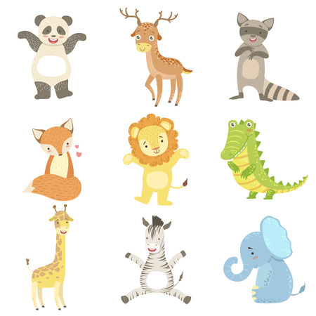 Humanized Animals Set Of Artistic Funny Stickers In Childish Design Vector Isolated On White Background
