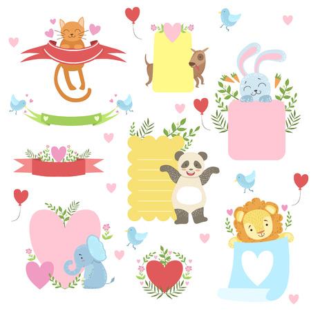 kid drawing: Message Template Set With Cute Animals Detailed Cute Vector Design Cards On White Background