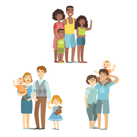 simplified: Happy Families Posing Together Simplified Cartoon Style Flat Vector Colorful Illustrations On White Background
