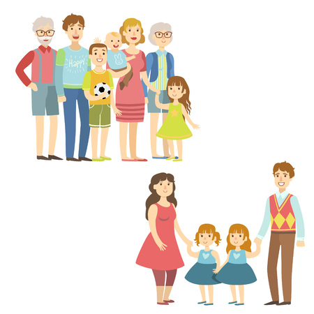 simplified: Full Families Posing Together Simplified Cartoon Style Flat Vector Colorful Illustrations On White Background Illustration