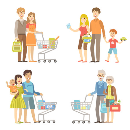 simplified: Families Grocery Shopping Together Simplified Cartoon Style Flat Vector Colorful Illustrations On White Background Illustration
