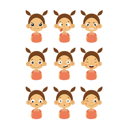 joking: Young Girl Portrait Icons With Different Emotions Set Of Flat Cartoon Style Simple Drawings Isolated On White Background Illustration